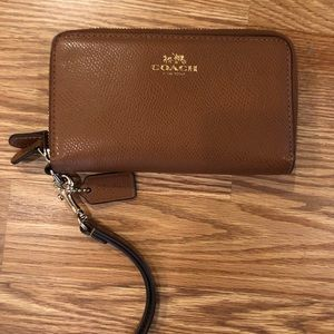 Authentic Coach Brown Leather Wallet w/ Strap